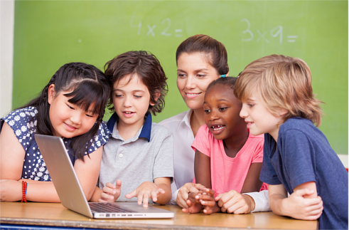 Teacher and four primary school students using a laptop