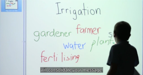 Student writing the word 'plant' on an interactive whiteboard, alongside the words Irrigation, gardener, farmer, water, soil and fertilising. The caption reads 'will consolidate your message.'